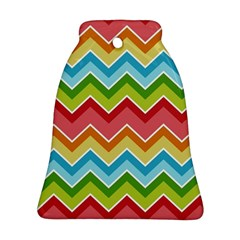 Colorful Background Of Chevrons Zigzag Pattern Bell Ornament (two Sides)