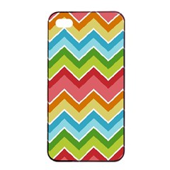 Colorful Background Of Chevrons Zigzag Pattern Apple Iphone 4/4s Seamless Case (black)