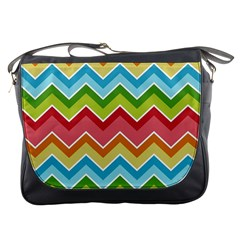 Colorful Background Of Chevrons Zigzag Pattern Messenger Bags