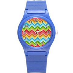 Colorful Background Of Chevrons Zigzag Pattern Round Plastic Sport Watch (s)