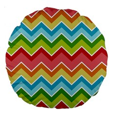 Colorful Background Of Chevrons Zigzag Pattern Large 18  Premium Round Cushions
