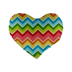 Colorful Background Of Chevrons Zigzag Pattern Standard 16  Premium Heart Shape Cushions