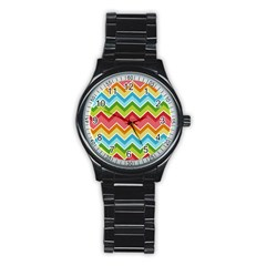 Colorful Background Of Chevrons Zigzag Pattern Stainless Steel Round Watch