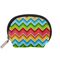 Colorful Background Of Chevrons Zigzag Pattern Accessory Pouches (small)