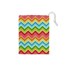 Colorful Background Of Chevrons Zigzag Pattern Drawstring Pouches (Small)