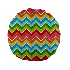Colorful Background Of Chevrons Zigzag Pattern Standard 15  Premium Flano Round Cushions
