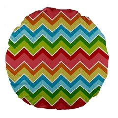 Colorful Background Of Chevrons Zigzag Pattern Large 18  Premium Flano Round Cushions