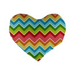 Colorful Background Of Chevrons Zigzag Pattern Standard 16  Premium Flano Heart Shape Cushions