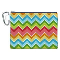 Colorful Background Of Chevrons Zigzag Pattern Canvas Cosmetic Bag (xxl)