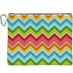 Colorful Background Of Chevrons Zigzag Pattern Canvas Cosmetic Bag (XXXL) Front