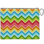 Colorful Background Of Chevrons Zigzag Pattern Canvas Cosmetic Bag (XXXL) Back