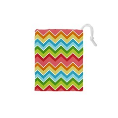 Colorful Background Of Chevrons Zigzag Pattern Drawstring Pouches (XS)