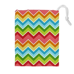 Colorful Background Of Chevrons Zigzag Pattern Drawstring Pouches (extra Large)