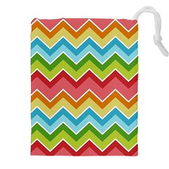 Colorful Background Of Chevrons Zigzag Pattern Drawstring Pouches (XXL)