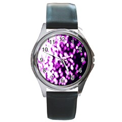 Bokeh Background In Purple Color Round Metal Watch