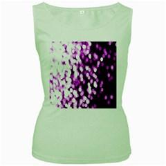 Bokeh Background In Purple Color Women s Green Tank Top