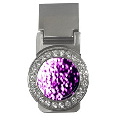 Bokeh Background In Purple Color Money Clips (cz)