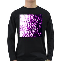 Bokeh Background In Purple Color Long Sleeve Dark T Shirts