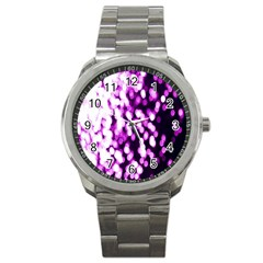 Bokeh Background In Purple Color Sport Metal Watch