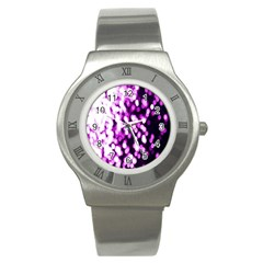 Bokeh Background In Purple Color Stainless Steel Watch