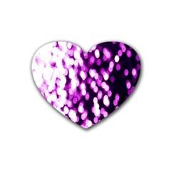 Bokeh Background In Purple Color Heart Coaster (4 Pack)