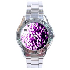 Bokeh Background In Purple Color Stainless Steel Analogue Watch