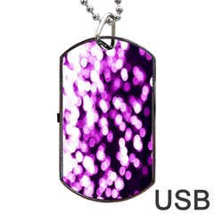 Bokeh Background In Purple Color Dog Tag Usb Flash (one Side)