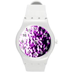 Bokeh Background In Purple Color Round Plastic Sport Watch (m)