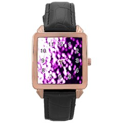 Bokeh Background In Purple Color Rose Gold Leather Watch