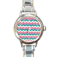 Chevron Pattern Colorful Art Round Italian Charm Watch
