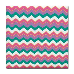 Chevron Pattern Colorful Art Tile Coasters