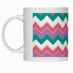Chevron Pattern Colorful Art White Mugs