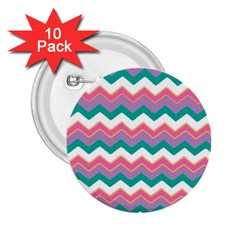 Chevron Pattern Colorful Art 2.25  Buttons (10 pack)