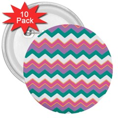 Chevron Pattern Colorful Art 3  Buttons (10 Pack)