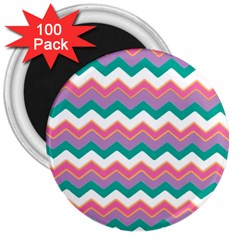 Chevron Pattern Colorful Art 3  Magnets (100 pack)