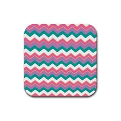 Chevron Pattern Colorful Art Rubber Coaster (square)