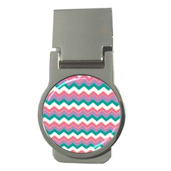 Chevron Pattern Colorful Art Money Clips (round)
