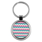 Chevron Pattern Colorful Art Key Chains (Round)  Front