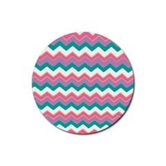 Chevron Pattern Colorful Art Rubber Coaster (round)