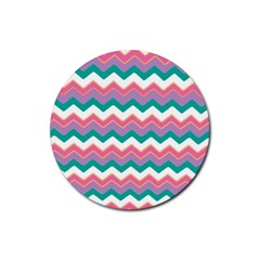Chevron Pattern Colorful Art Rubber Round Coaster (4 pack)