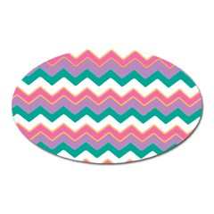 Chevron Pattern Colorful Art Oval Magnet