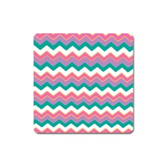 Chevron Pattern Colorful Art Square Magnet