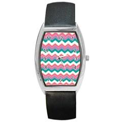 Chevron Pattern Colorful Art Barrel Style Metal Watch