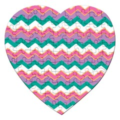 Chevron Pattern Colorful Art Jigsaw Puzzle (heart)