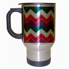 Chevron Pattern Colorful Art Travel Mug (silver Gray)