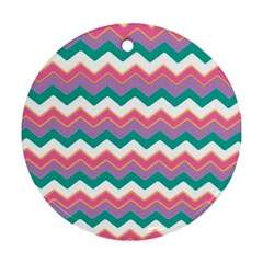 Chevron Pattern Colorful Art Round Ornament (two Sides)