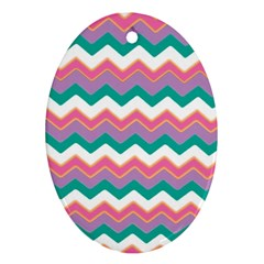 Chevron Pattern Colorful Art Oval Ornament (two Sides)