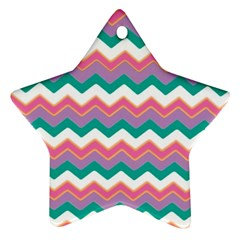 Chevron Pattern Colorful Art Star Ornament (two Sides)