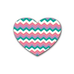 Chevron Pattern Colorful Art Rubber Coaster (Heart)