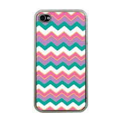 Chevron Pattern Colorful Art Apple Iphone 4 Case (clear)